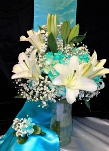 Lilies with a Touch of Turquoise
